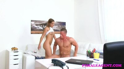 FemaleAgent Stud cums in horny agents hot wet mouth after fucking