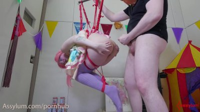 anal circus girl gets brutal ass to mouth fucking on her trapeze