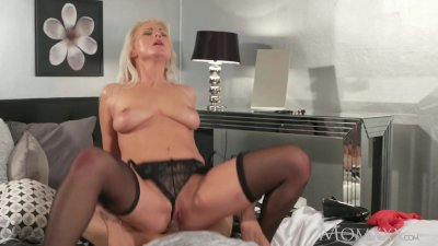 MOM Blonde MILF in stockings and lingerie deepthroats and fucks boyfriend