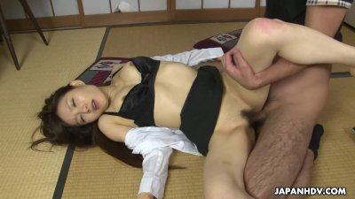 Bitch in her dark lingerie getting fucked in her hairy muff