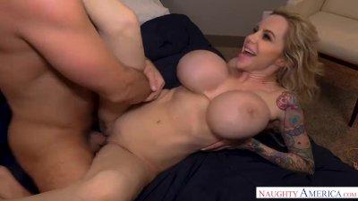 Cougar Danielle Derek's HUGE tits seduce a lucky big dick! Naughty America