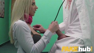 Fake Hospital Deepthroat and deep pussy fucking cures petite blonde Czech