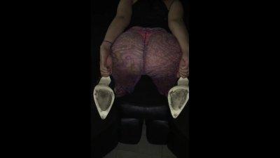 Wife in See through Leggings Bend Over in High Heels