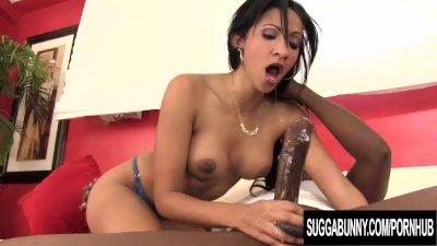 Ebony Sweetheart Sadie Santana Sucks on a Monster Cock Before Riding It