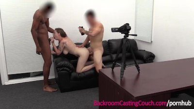 Big Tits Amateur Threeway w Big Black Cock and Casting Agent