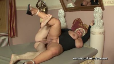 Thick blonde slut with big tits gets shaved pussy drilled