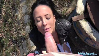 Public Agent Peachy ass tight pussy art student swallows thick cumload