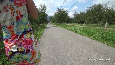 PUBLIC FLASHING  on nature walk . Amateure  4 k .