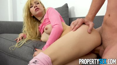 PropertySex - Tiny blonde uses her tight pussy to get apartment