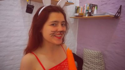 Penetrating the bunny with a carrot. Try not to cum