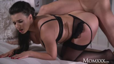 MOM Busty sexy French MILF in ebony stockings lingerie and high heels