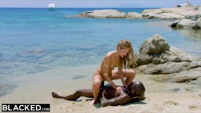 Preview 7 of Ebonyed Strong Ebony Man Fucks Blonde Tourist On The Beach
