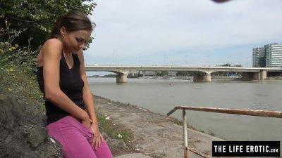 Cute jogger almost caught masturbating in a public park