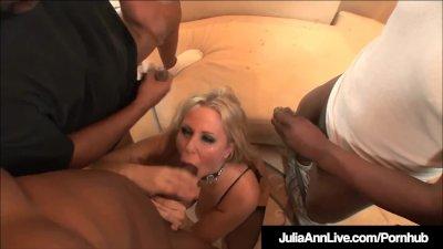 Milf Julia Ann anal Fucked & Facialed By 4 Big ebony Cocks!
