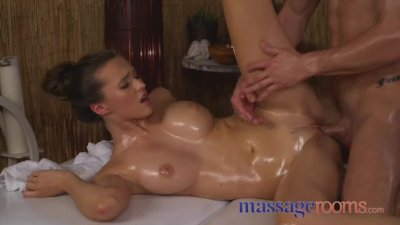 Massage Rooms Amazing natural tits babe gets oily fuck from masseur stud