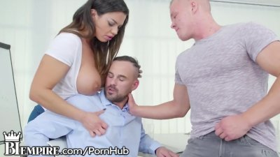 Preview 3 of Biempire Bisexual Stepdad Enjoys Hot Son & His Busty Lady