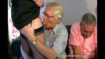 Preview 7 of Teen With 2 Old Men And A Mature Crossdresser