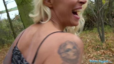 Preview 8 of Public Agent Tattooed Busty German Blonde Milf Fucked Hard Against A Tree