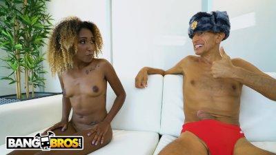 Preview 1 of Bangbros - Petite Ebony Cutie, Kiki Star, Gets Impaled By Vlad's Big Dick!