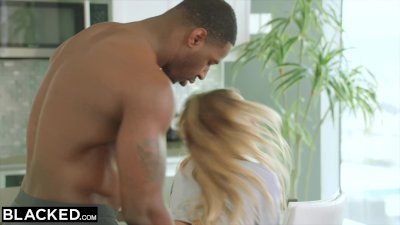 Preview 2 of Ebonyed He Left Her Alone With His Strong Ebony Roommate