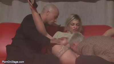 Preview 3 of Rough Threesome Porn Orgy On Public Stage