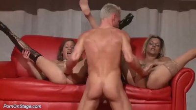 rough threesome porn orgy on public stage