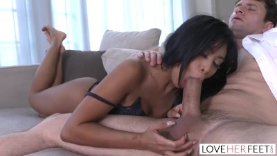 LoveHerFeet - Asian Beauty Ember Snow Rides a Fat White Cock