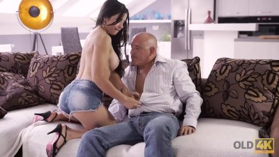 Preview 3 of Old4k. Muscled Old Gentleman Bruno S With Dazzling Hottie