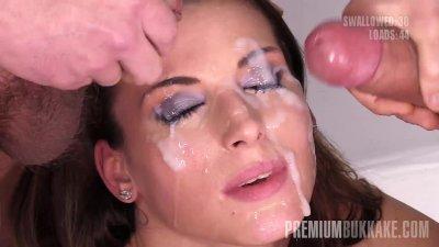 Premium Bukkake - Victoria Daniels swallows 55 huge mouthful cum loads