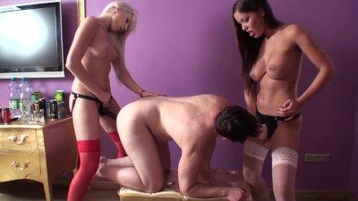 Nylon Girls pegging slaves