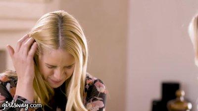 Preview 3 of Girlsway Hot Milf Sarah Vandella Reaches Her Stepmom Katie Morgan For Some Scissoring Nostalgia