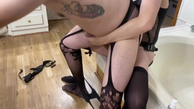 Pegging My Sissy Husband in Our New Bathroom