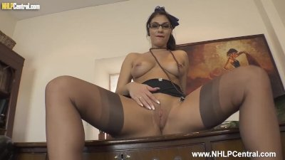 Big tits Secretary Roxy Mendez strips and wanks on desk in stilettos stockings suspenders