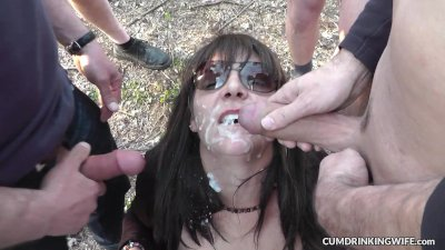 Hot wife gangbanged by over 10 strangers in the woods